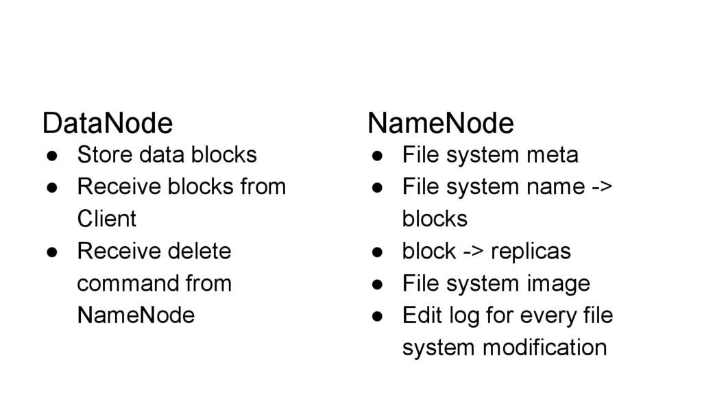 DataNode ● Store data blocks ● Receive blocks f...