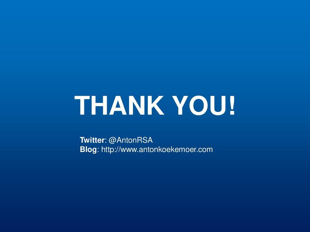 THANK YOU! Twitter: @AntonRSA Blog: http://www....