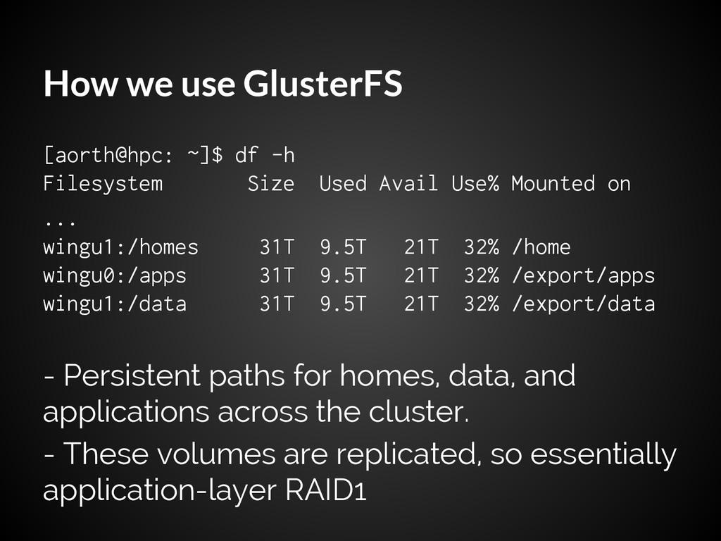 How we use GlusterFS [aorth@hpc: ~]$ df -h File...
