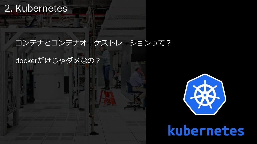 コンテナとコンテナオーケストレーションって︖ dockerだけじゃダメなの︖ 2. Kuber...
