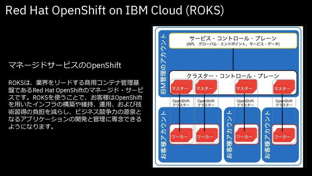 マネージドサービスのOpenShift ROKSは、業界をリードする商⽤コンテナ管理基 盤であ...