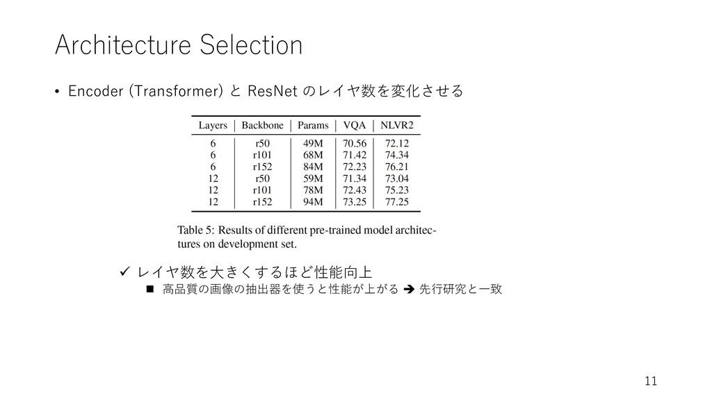 Architecture Selection • Encoder (Transformer) ...