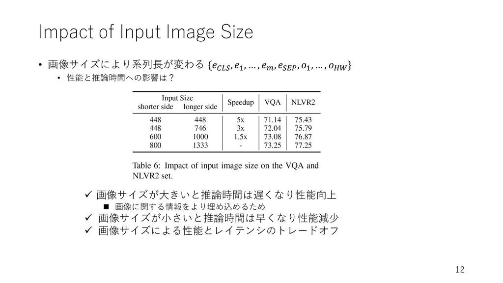 Impact of Input Image Size • 画像サイズにより系列⻑が変わる {𝑒...
