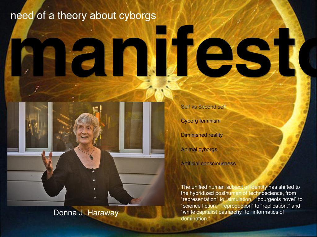 manifesto need of a theory about cyborgs! Self ...