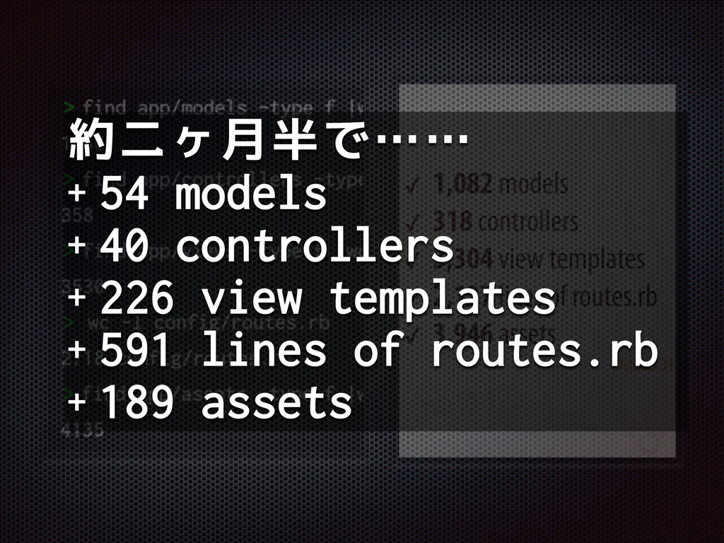 約二ヶ月半で…… + 54 models + 40 controllers + 226 vie...