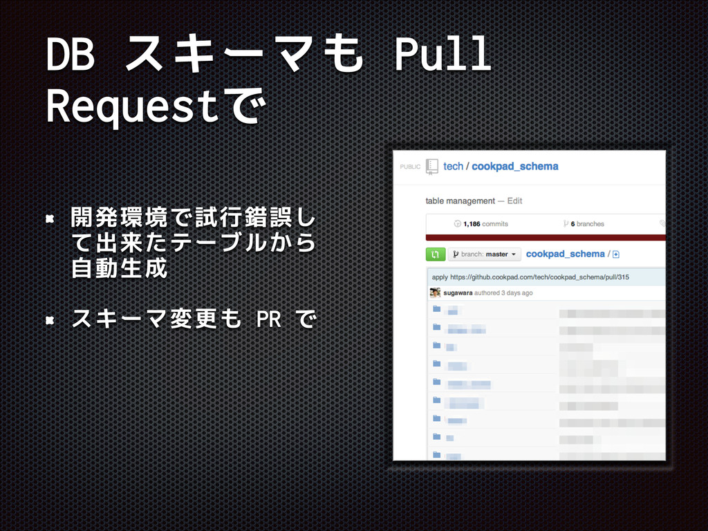 DB スキーマも Pull Requestで 開発環境で試行錯誤し て出来たテーブルから 自動...