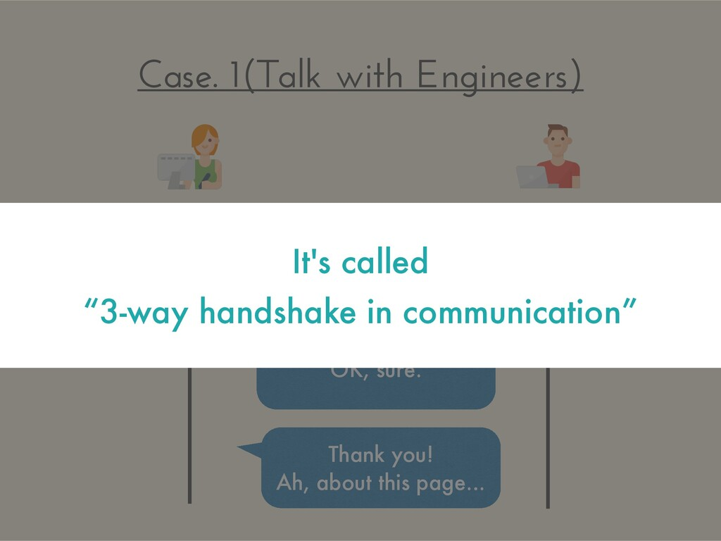 Case. 1(Talk with Engineers) Can I speak to you...