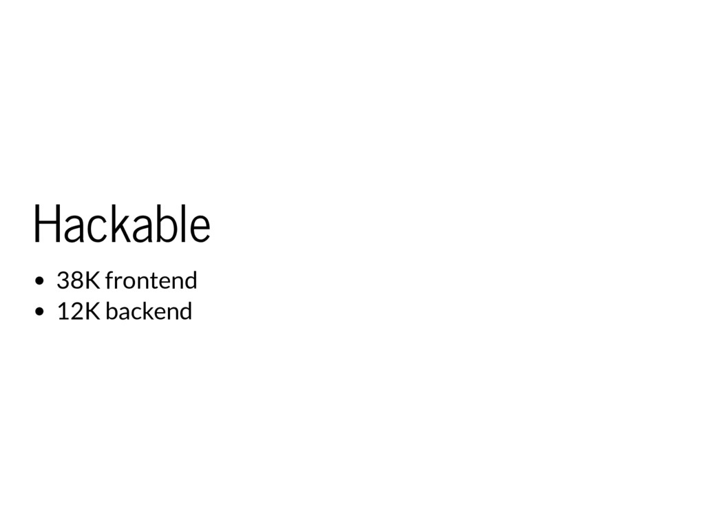 Hackable 38K frontend 12K backend