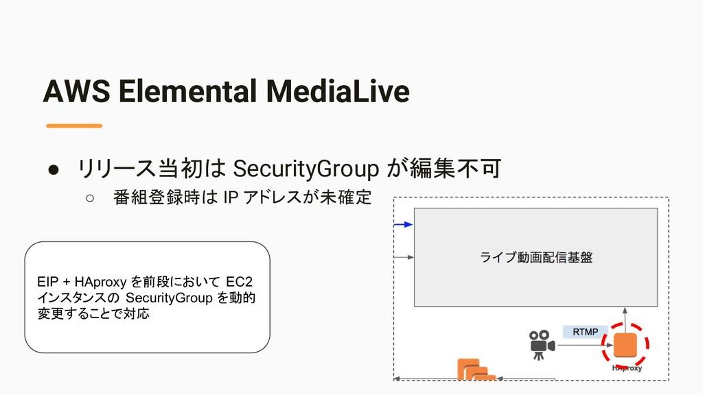 AWS Elemental MediaLive ● リリース当初は SecurityGroup...
