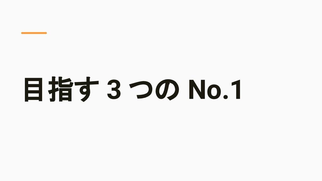 目指す 3 つの No.1
