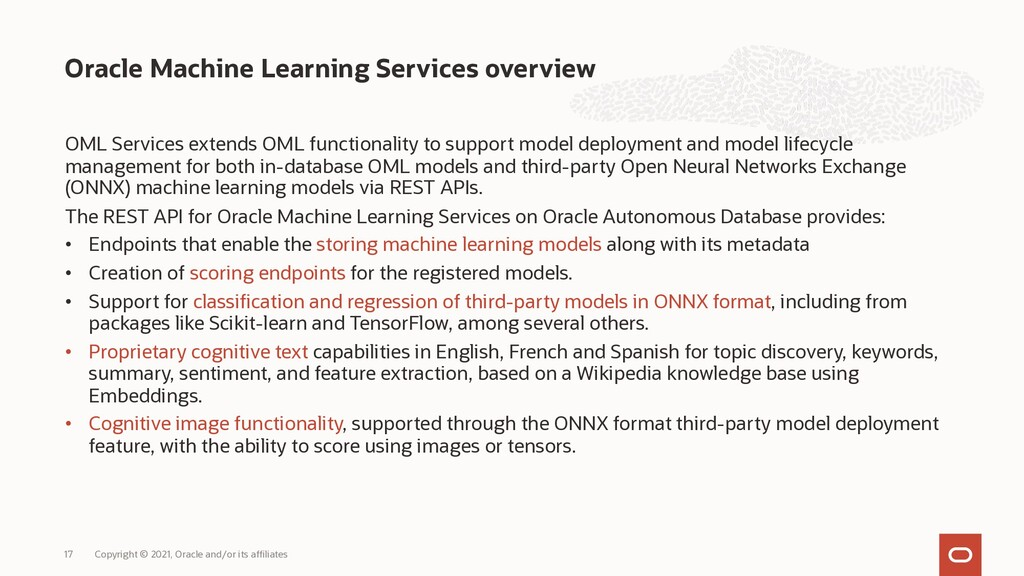 OML Services extends OML functionality to suppo...