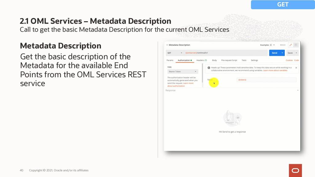 Call to get the basic Metadata Description for ...