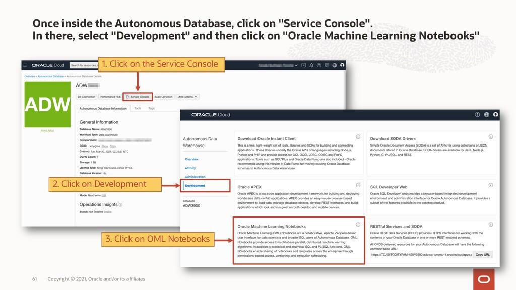 "Once inside the Autonomous Database, click on ""..."