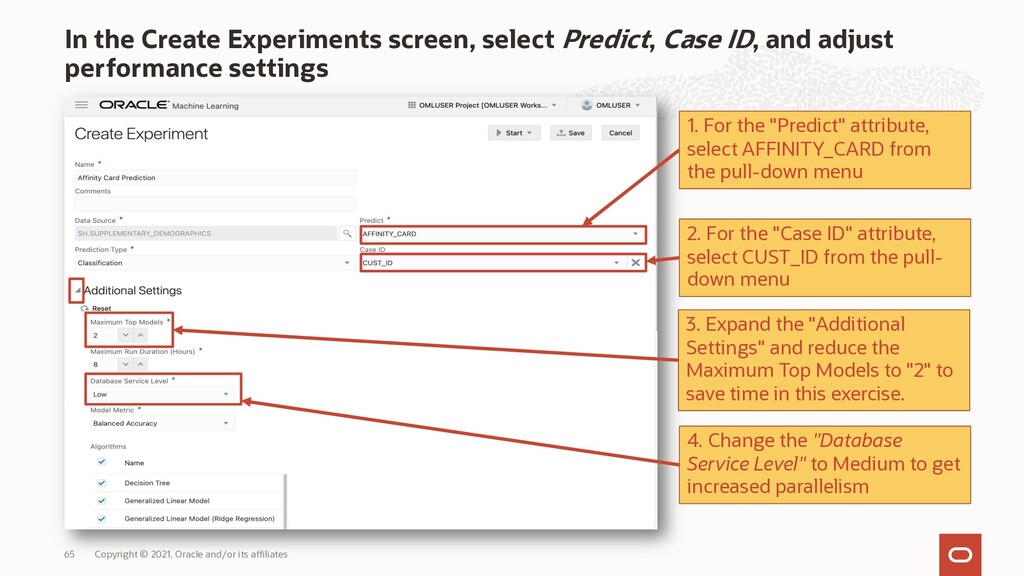In the Create Experiments screen, select Predic...
