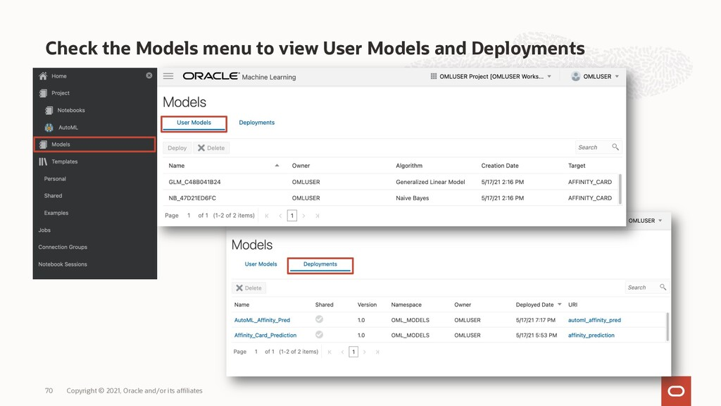 Check the Models menu to view User Models and D...