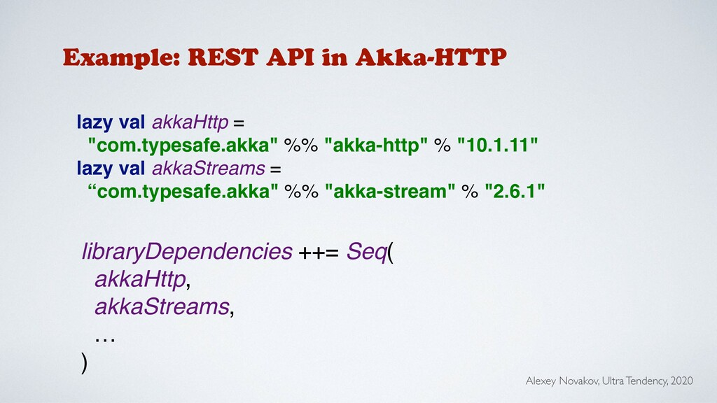 Example: REST API in Akka-HTTP libraryDependenc...