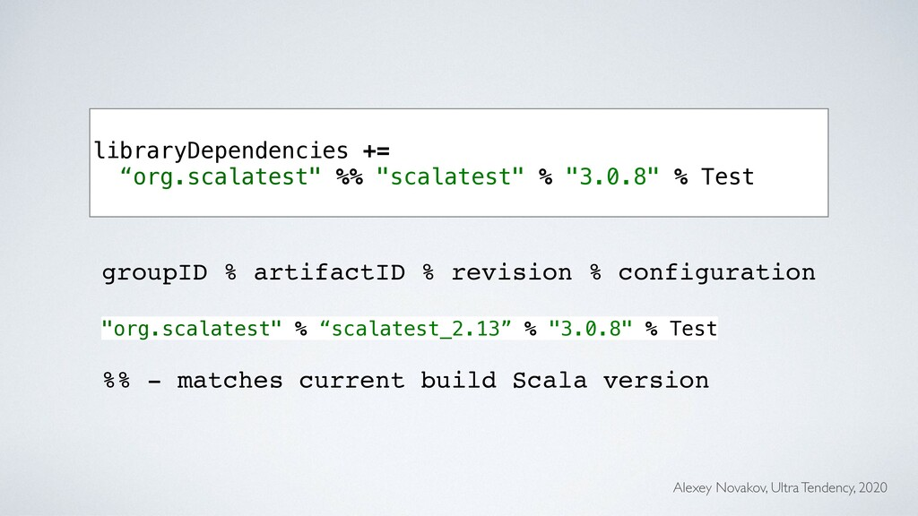 """libraryDependencies += """"org.scalatest"""" %% """"scal..."""