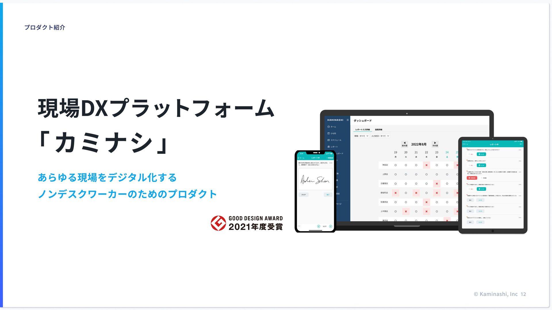 誰でも正しい⼿順で作業を実⾏ カミナシは、モバイルアプリを使って、 現場業務のムダを⾃動化する...