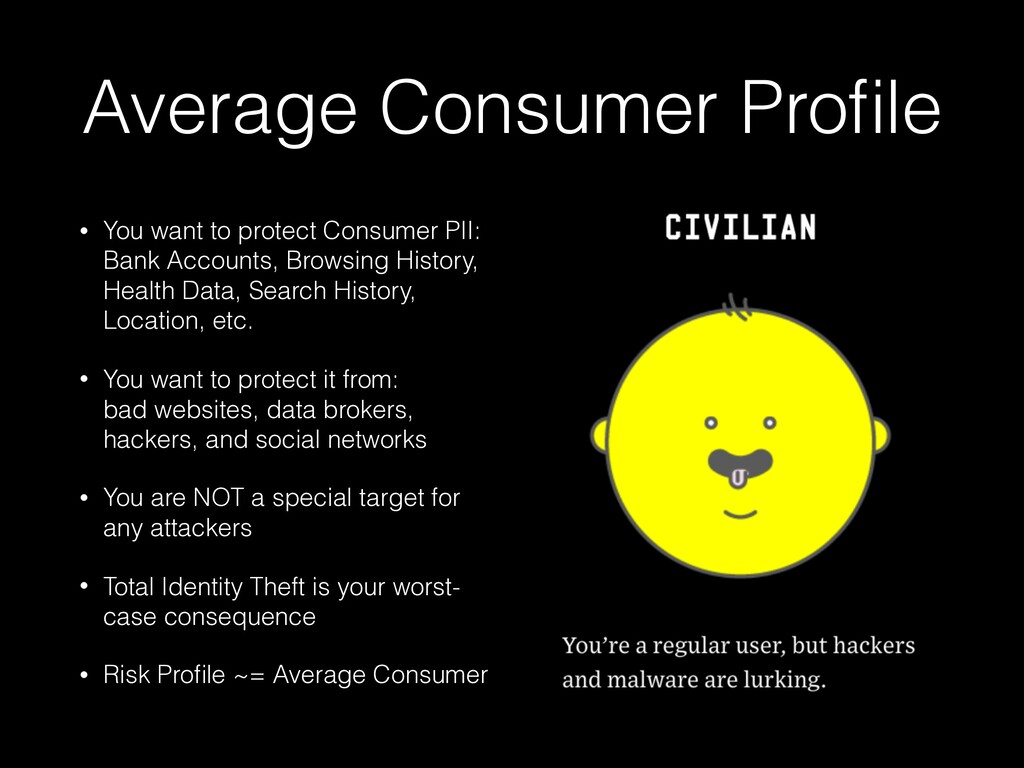 Average Consumer Profile • You want to protect C...