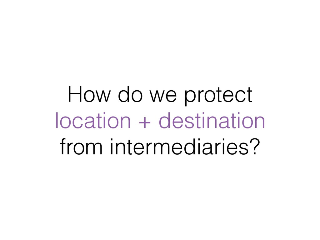 How do we protect location + destination from ...