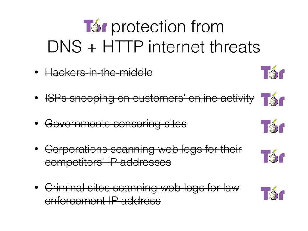 Tor protection from DNS + HTTP internet threats...