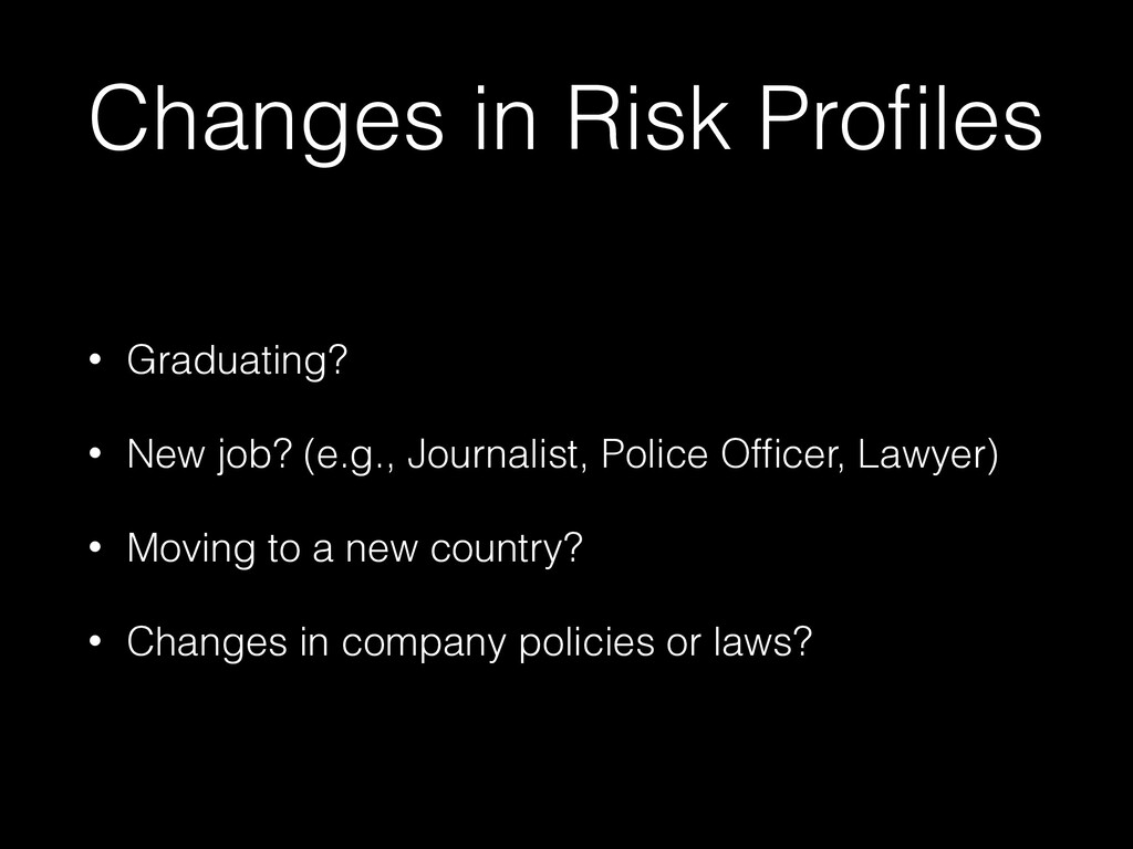 Changes in Risk Profiles • Graduating? • New job...