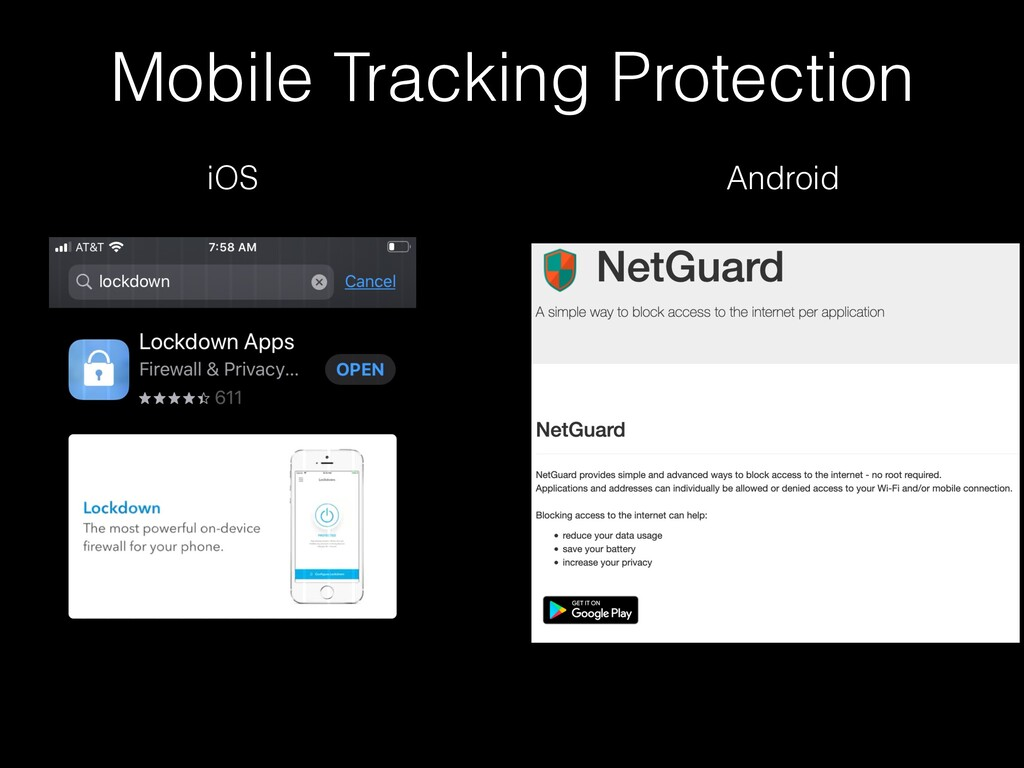 Mobile Tracking Protection iOS Android