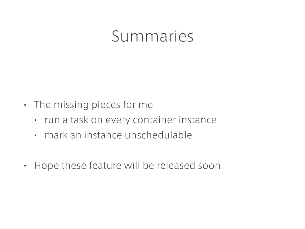 Summaries • The missing pieces for me • run a t...