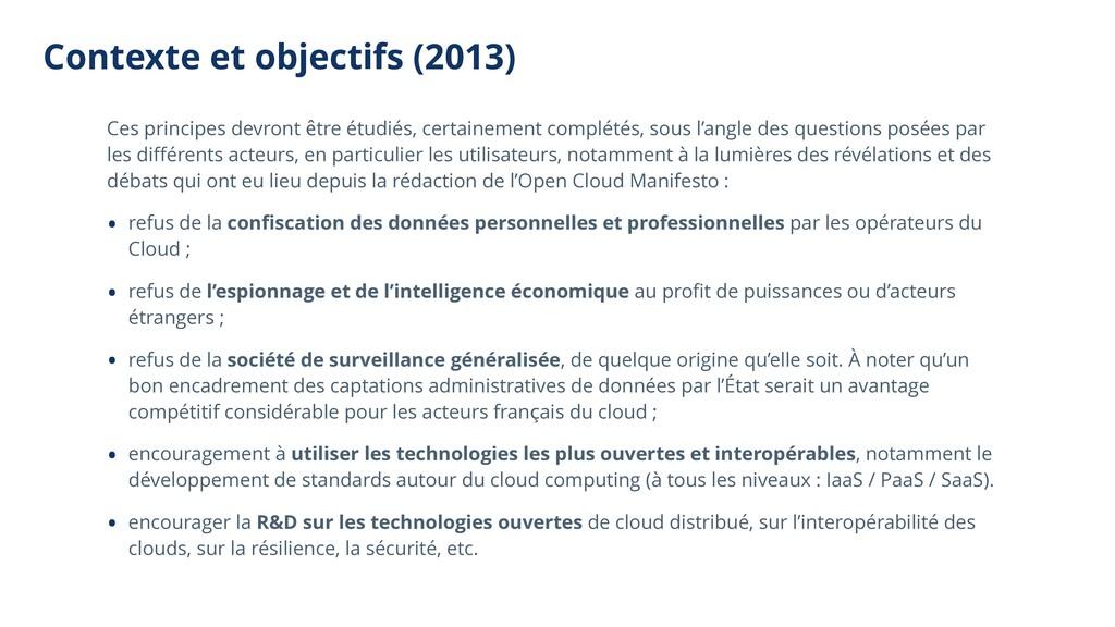 Contexte et objectifs (2013) Ces principes devr...