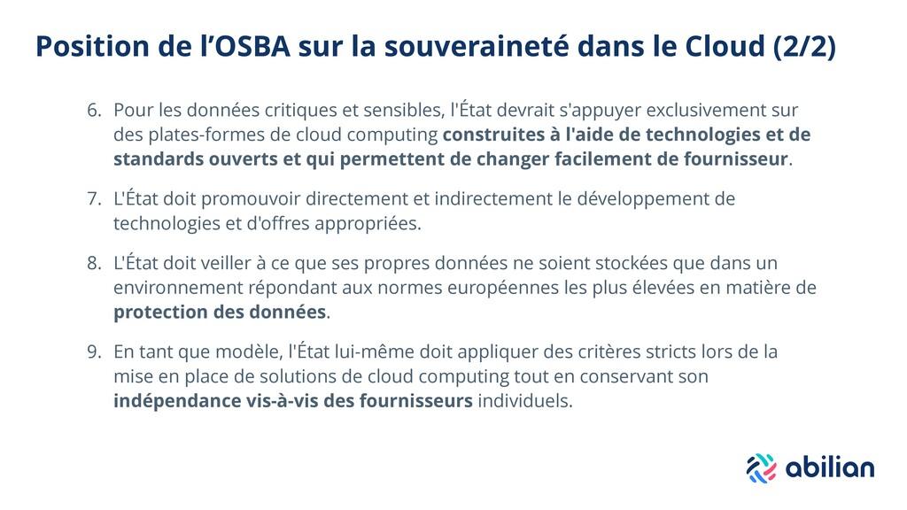 Position de l'OSBA sur la souveraineté dans le ...