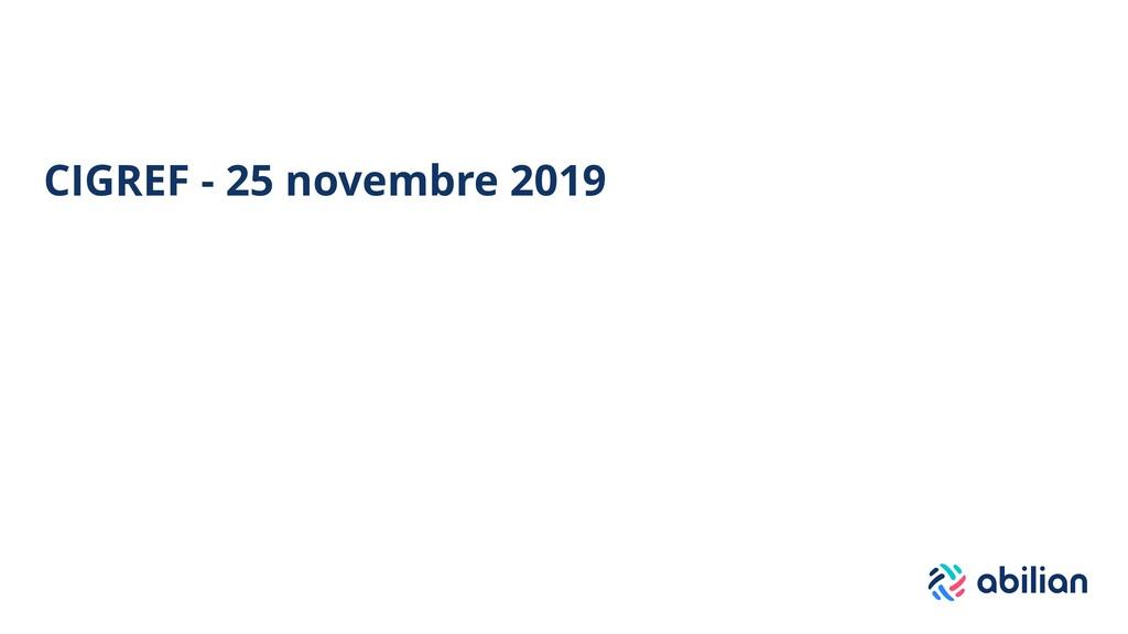 CIGREF - 25 novembre 2019