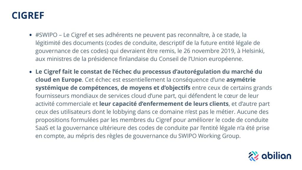 CIGREF • #SWIPO – Le Cigref et ses adhérents ne...