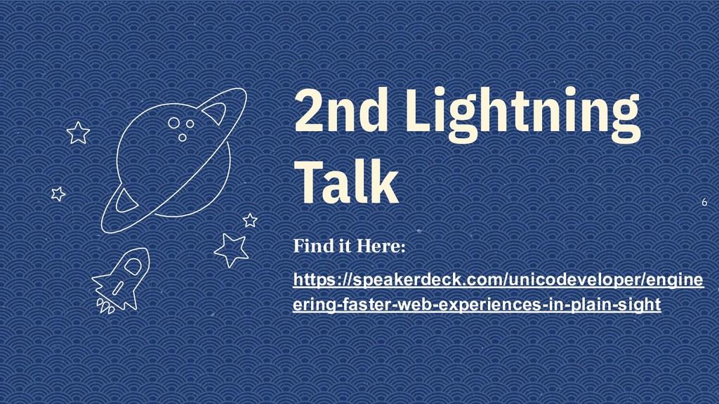 2nd Lightning Talk Find it Here: https://speake...