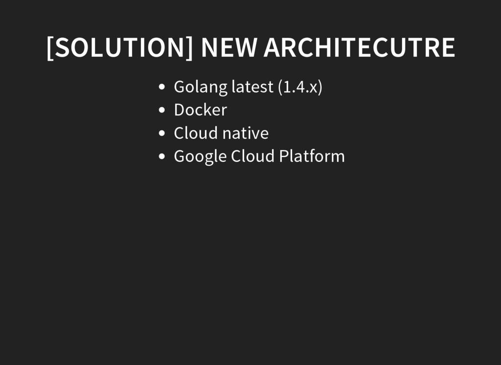 [SOLUTION] NEW ARCHITECUTRE Golang latest (1.4....