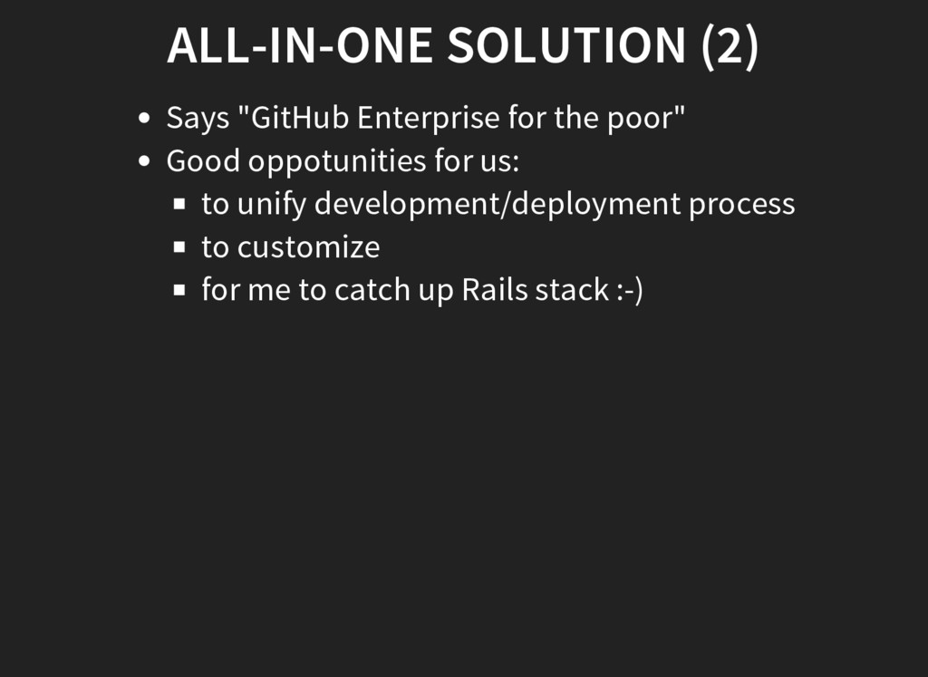 """ALL-IN-ONE SOLUTION (2) Says """"GitHub Enterprise..."""