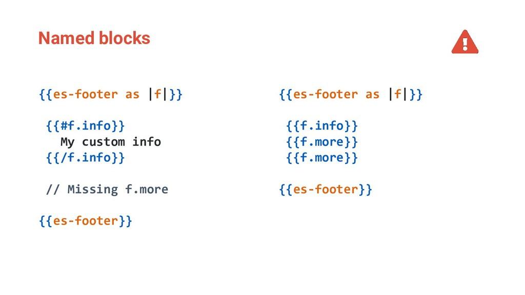Named blocks {{es-footer as |f|}} {{f.info}} {{...