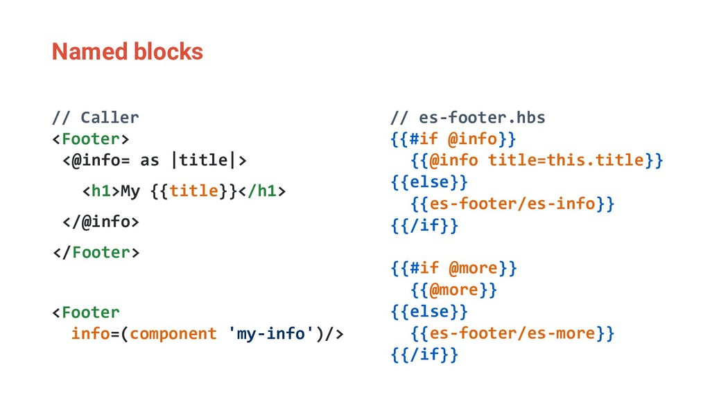 Named blocks // Caller <Footer> <@info= as |tit...