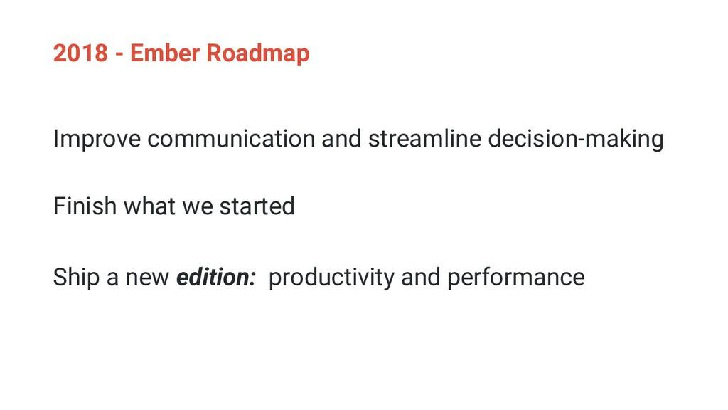 2018 - Ember Roadmap Improve communication and ...