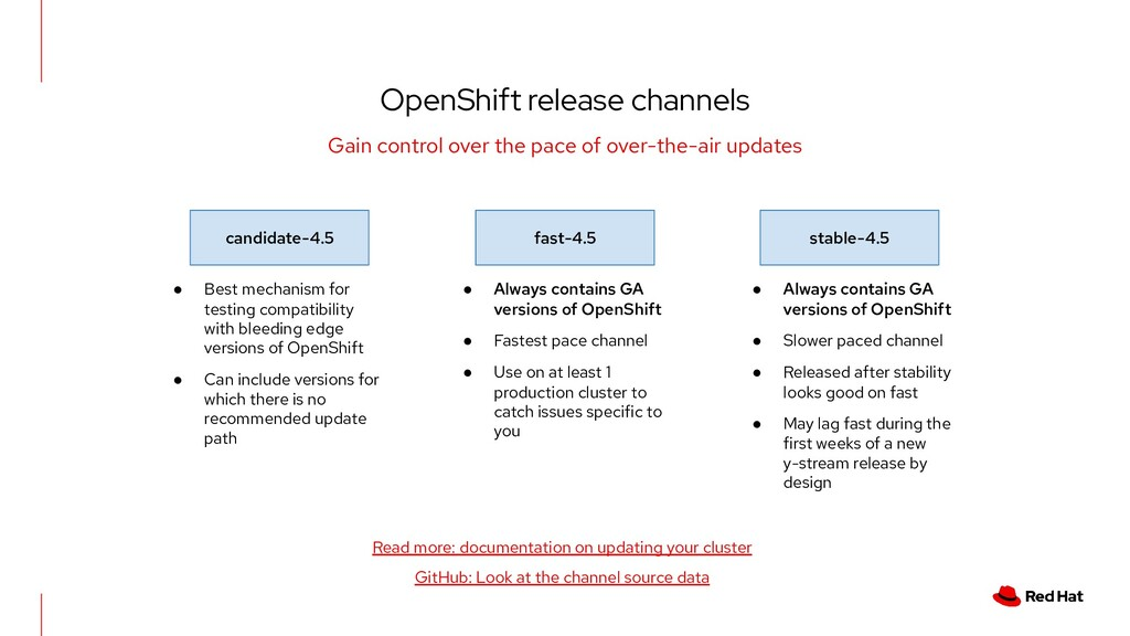 OpenShift release channels Gain control over th...