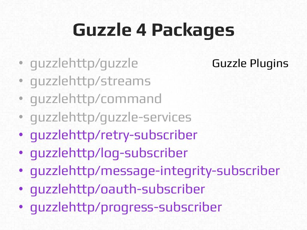 Guzzle 4 Packages! • guzzlehttp/guzzle! • guz...