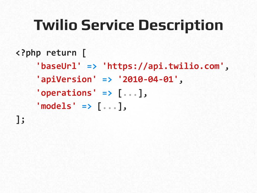 Twilio Service Description! <?php return ...