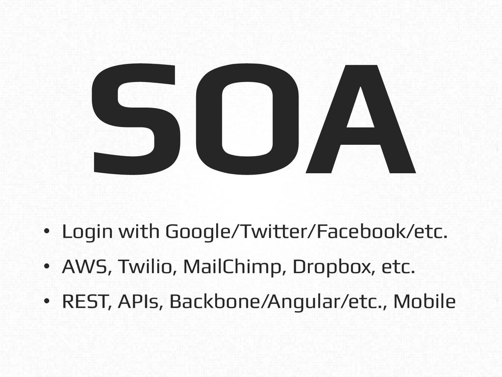 SOA! • Login with Google/Twitter/Facebook/etc....