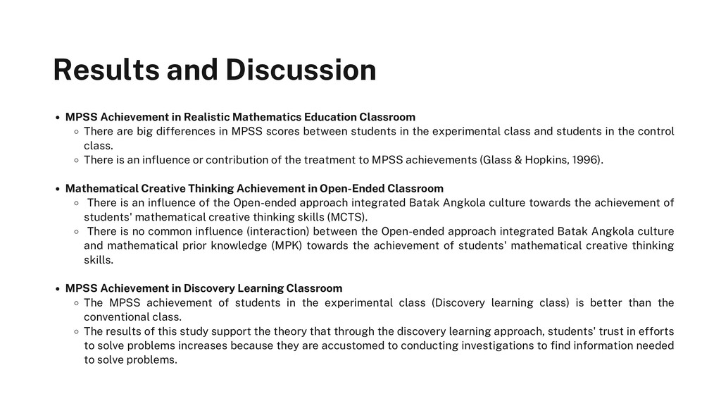 Results and Discussion MPSS Achievement in Real...