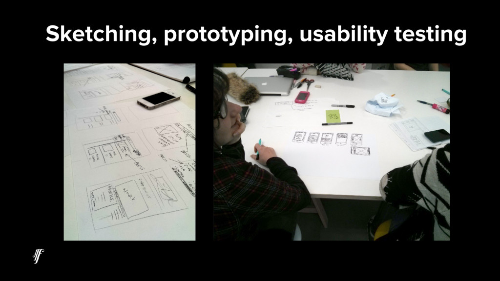 Sketching, prototyping, usability testing