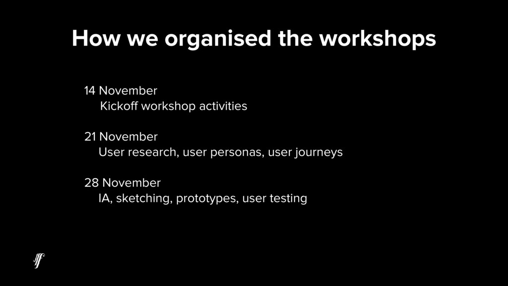 14 November Kickoff workshop activities 21 Nove...
