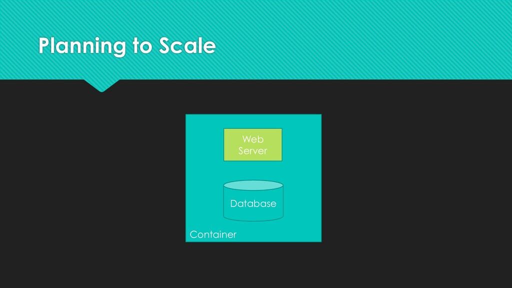 Planning to Scale Container Web Server Database