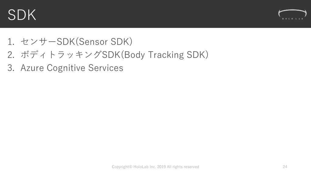 SDK 1. センサーSDK(Sensor SDK) 2. ボディトラッキングSDK(Body...
