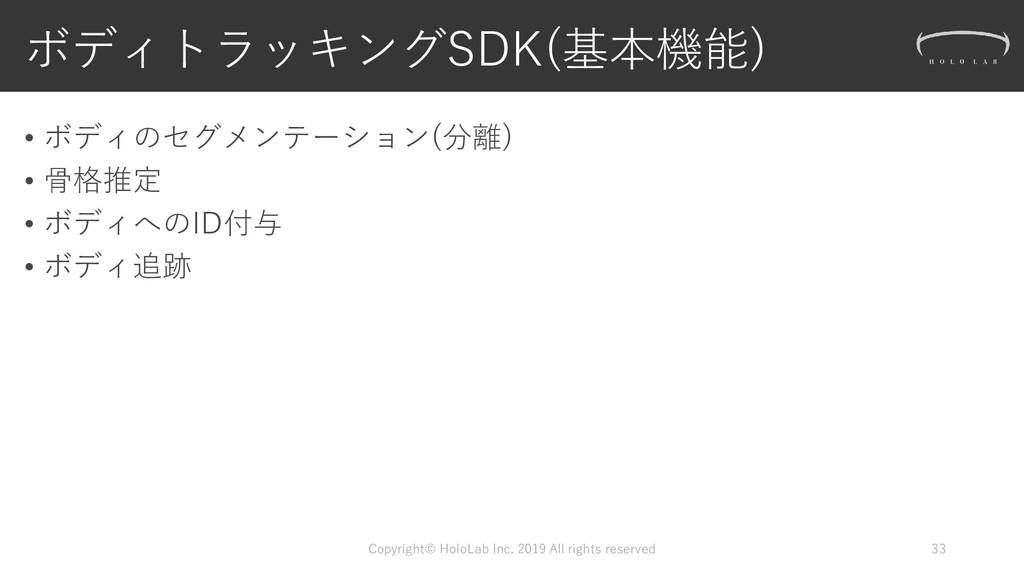 ボディトラッキングSDK(基本機能) • ボディのセグメンテーション(分離) • 骨格推定 •...