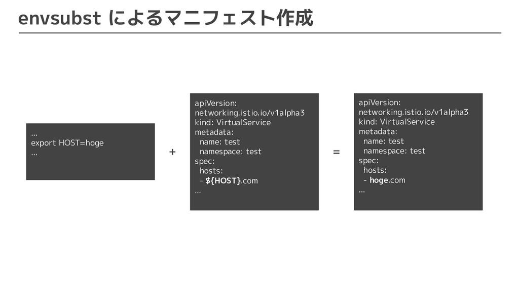 envsubst によるマニフェスト作成 ... export HOST=hoge ... a...