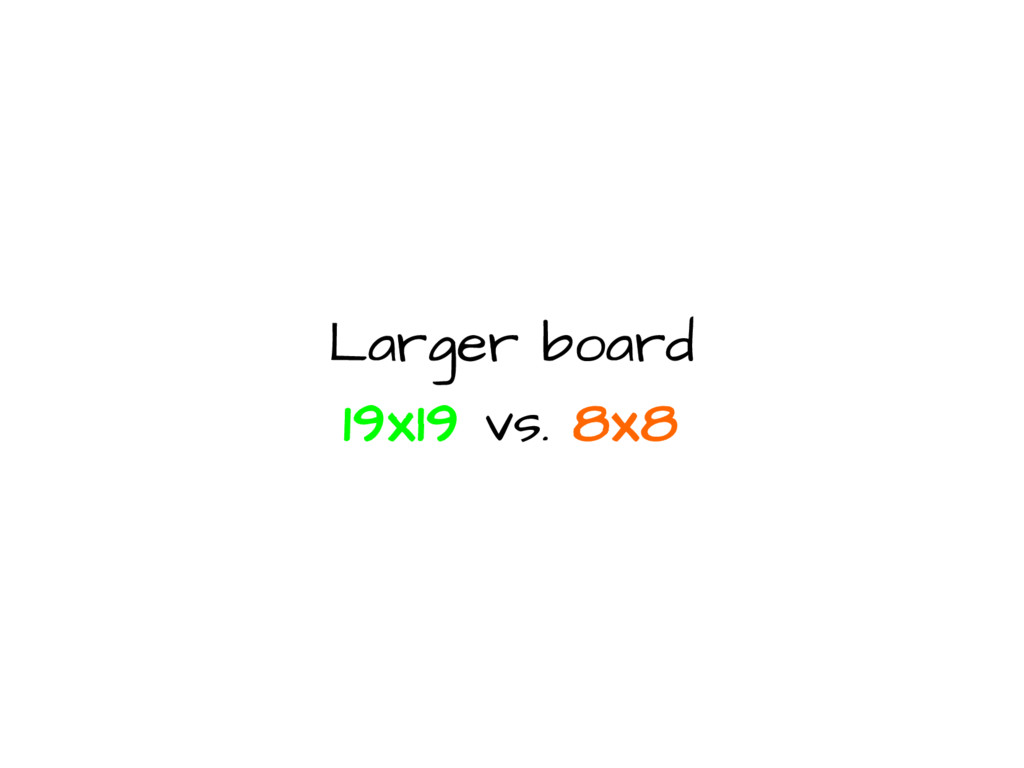 Larger board 19x19 vs. 8x8